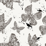 Vector spring natural seamless pattern with butterflies