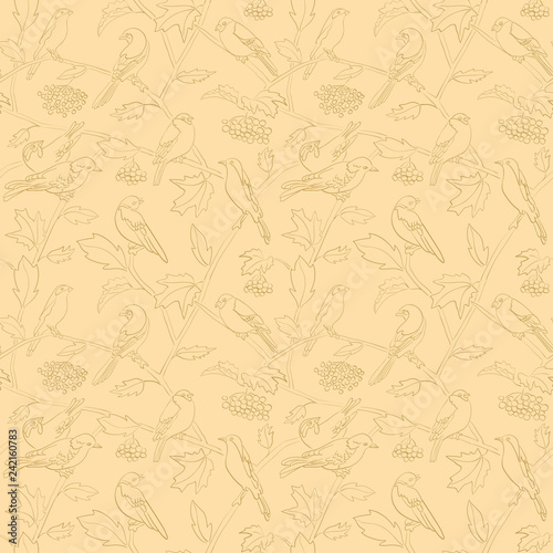 rowan branches with berries and birds on beige vector seamless pattern