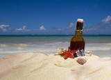 A bottle of cold beer on a tropical beach - 242161990