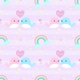 seamless pattern couple whale