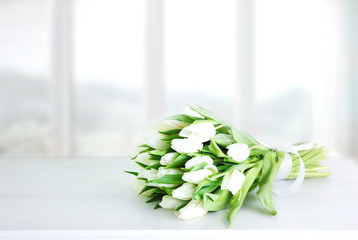 Mother's day,wedding,white tulips bouquet backdrop.