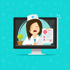 Doctor showing bad diagnosis results on desktop computer vector, flat cartoon unhappy woman medic or physician, paper document form online, disapproved or failed results, telemedicine medical report