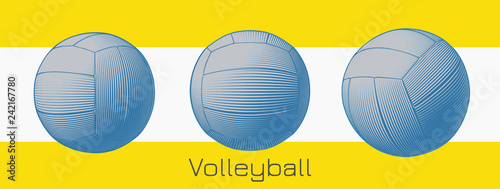 Engraving volleyball illustration on yellow and white BG