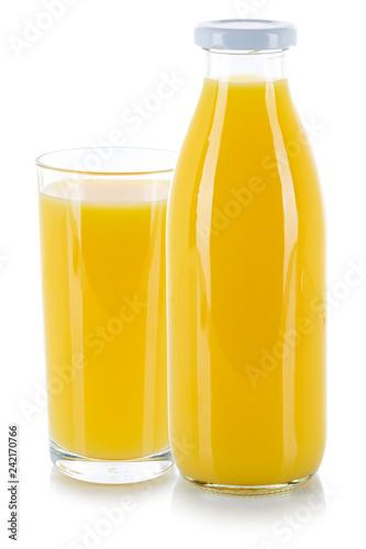 Orangensaft Saft Getränk frischer Glas Flasche freigestellt Freisteller isoliert