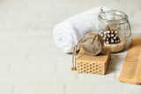 Bars of soap with bath towels - 242171333
