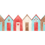 Watercolor vector house pattern - 242171391