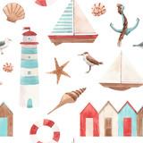 Watercolor marine vector pattern - 242171542