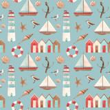 Watercolor marine vector pattern - 242171598