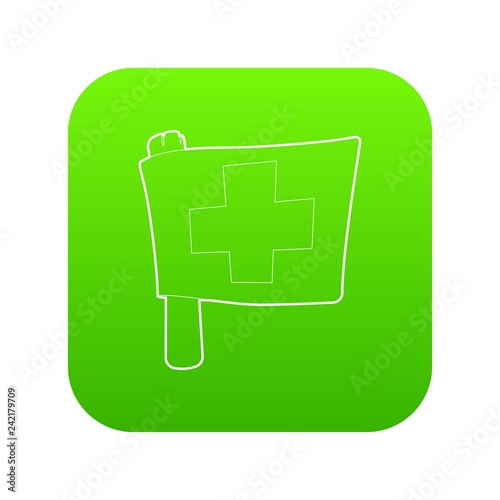 Switzerland flag icon green vector isolated on white background