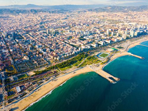 Aerial view of Sea coast of Barcelona