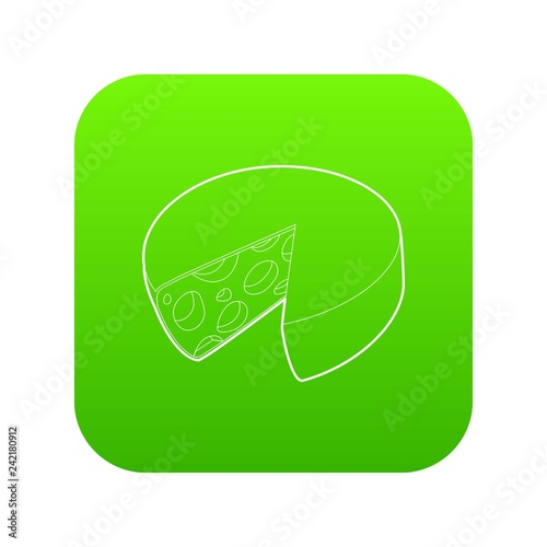 Cheese icon green vector isolated on white background
