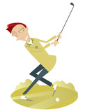 Smiling golfer on the golf course illustration. Smiling golfer man aiming to do a good kick illustration
