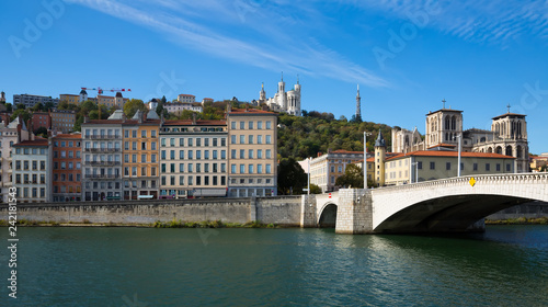 Cityscape of Lyon, town in France at riverside Saone at sunny day