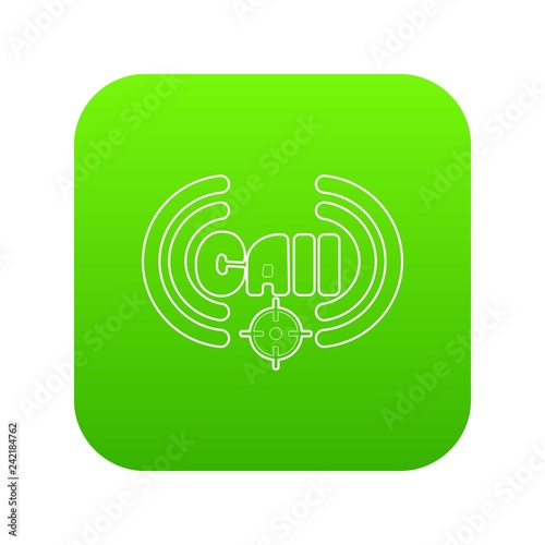 Call icon green vector isolated on white background