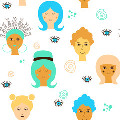 Seamless pattern with different ethnicity female faces on a waite background. Vector drawing for International womens day. Flat design, graphic style. © Anastasiia Komarova