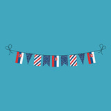 Decorations bunting flags for Slovakia national day holiday in flat design. Independence day or National day holiday concept.