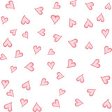 Watercolor hearts seamless background. Pink watercolor heart pattern. Colorful watercolor romantic texture. - Vector - 242191950
