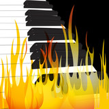 Piano in flames abstract flowing flame background original vector Illustration - 242191985