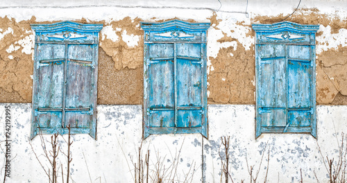 Old Shutters On Abandoned House Blue Blue Window Tree