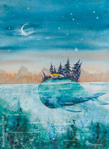 Children book illustration -whale and fox traveling together. Picture made with watercolors. © dannywilde