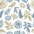 Hand Sketched Floral Seamless Pattern - 242196151
