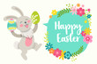 Cartoon style easter cute vector bunny, eggs and flowers greeting card