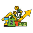 business plant growth coins clock money