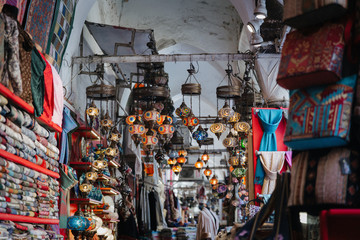 Morrocan lamps at a market