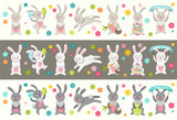 Set of cute Easter cartoon characters rabbits and design elements. Easter bunny, eggs and flowers. Vector illustration.
