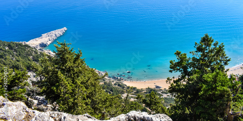 Sticker PANAGIA TSAMPIKA,RHODES/GREECE NOVEMBER 3 2018 :view of Tsampika beach from the top of the mountain