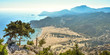 PANAGIA TSAMPIKA,RHODES/GREECE NOVEMBER 3 2018 :view of Tsampika beach from the top of the mountain