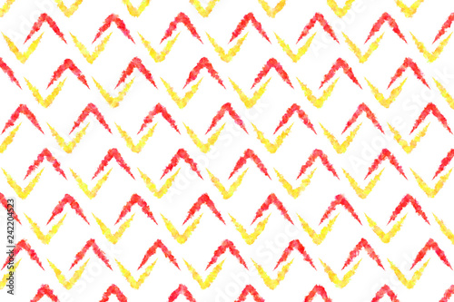 Painted red and yellow chevrons on white background - 242204523