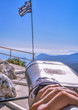 PANAGIA TSAMPIKA,RHODES/GREECE NOVEMBER 3 2018 :view of Greek flag from the top of the mountain