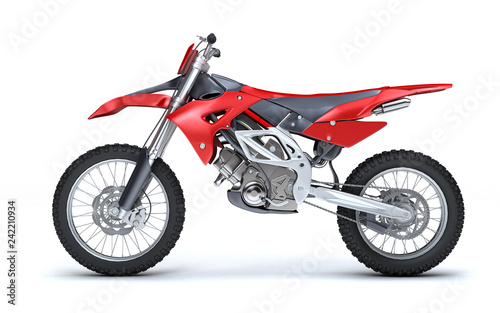 3D illustration of red glossy sports motorcycle isolated on white background. Left side view