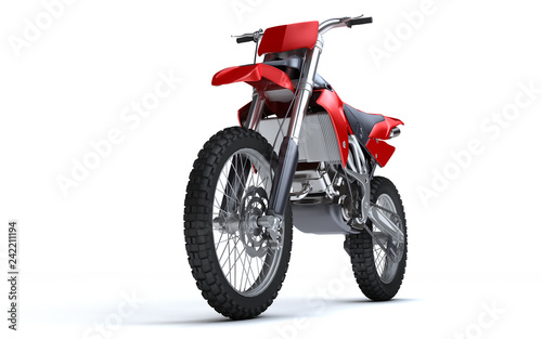 3D illustration of red glossy sports motorcycle isolated on white background. Perspective. Front side view. Low angle view. Left side