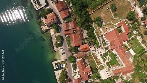 mata magnetyczna Aerial view of the city Prcanj in the Bay of Kotor Montenegro