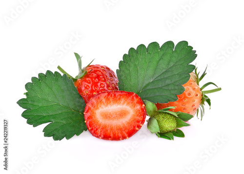 Strawberry on white background.