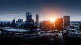 Fototapeta Miasto - Night glowing cityscape © Sergey Nivens