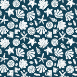 Sea shells, rocks, sand on the coast. Seamless pattern in blue and yellow. For pattern fills, wallpaper, print for clothes, wrapping paper - 242235172