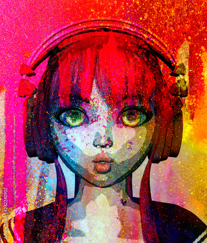 Portrait of happy anime girl with headphone,3d rendering,pop art style - 242240902