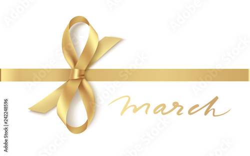 Decorative golden bow with horizontal ribbon isolated on white. 8 March concept. International Women's day. Vector illustration
