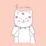 Cartoon cute Valentines day kiss cat vector.