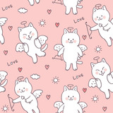 Cartoon cute Valentines day cupid cat and love seamless pattern vector. - 242250951