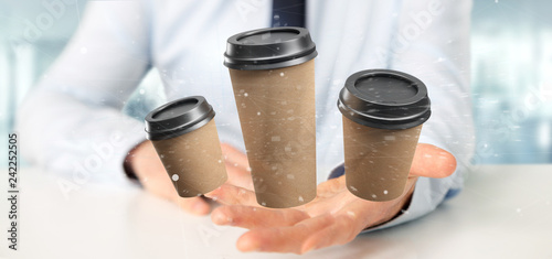 Group of cardbox coffee cup with connection 3d rendering - 242252505