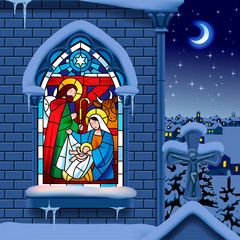 Stained glass window depicting Christmas scene on gothic church © Raman Maisei