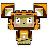 Adorably Cute Little Cartoon Block Lion Character