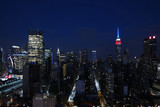 Aerial and panorama view of skyscrapers of New York City, Manhattan.  Top view of night midtown of Manhattan