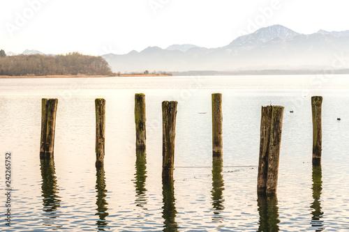Acrylglas Pier Seeufer am Chiemsee mit Holz