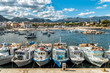 Fishing boats in the small harbor of Isola delle Femmine or Island of Women, province of Palermo, Sicily, Italy