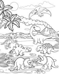 A dinosaur cartoon cute animal background prehistoric landscape coloring outline scene.